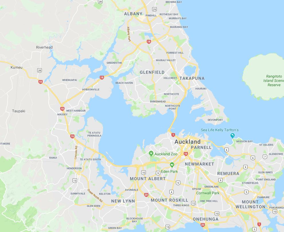 Auckland junk collection area map